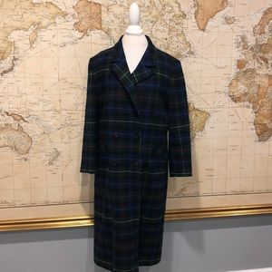 Pendleton Virgin Wool Plaid Trench Lady Coat 12